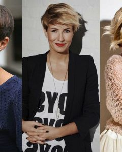 Short Side Swept Pixie Haircuts With Caramel Highlights