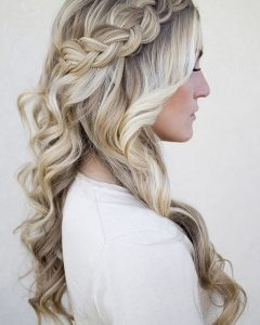 Half Up Half Down with Braid Wedding Hairstyles