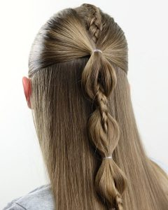 High Braided Pony Hairstyles with Peek-a-boo Bangs