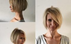 Messy Short Bob Hairstyles with Side-swept Fringes