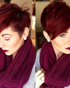 Vibrant Burgundy Shag Haircuts