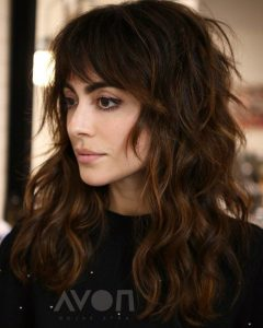 Warm-Toned Wavy Brunette Shag Hairstyles