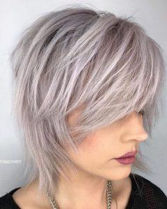 Short-To-Medium Shattered Gray Shag Haircuts