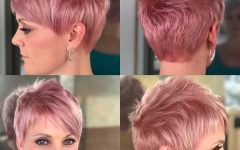 Wavy Asymmetrical Pixie Haircuts With Pastel Red