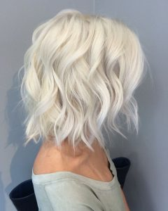 Long Blonde Bob Hairstyles in Silver White