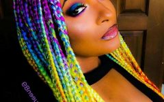 Extra-long Blue Rainbow Braids Hairstyles
