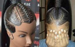 Swooped-Up Playful Ponytail Braids With Cuffs And Beads