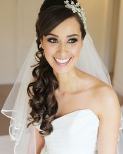 Half Up Half Down with Veil Wedding Hairstyles