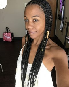 Simple Center-Part Fulani Braids With A Forehead Bead