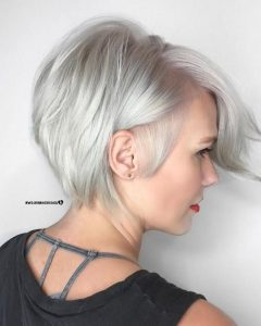 Side-Parted Silver Pixie-Bob Haircuts