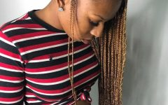 Gold-toned Skull Cap Braided Hairstyles