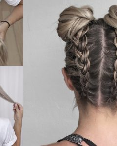 Upside Down Braids With Double Buns