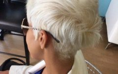 Platinum Blonde Disheveled Pixie Haircuts