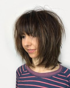 Brunette Razor Haircuts With Bangs