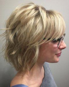 Razored Blonde Bob Haircuts With Bangs