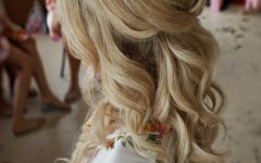 Golden Half Up Half Down Curls Bridal Hairstyles