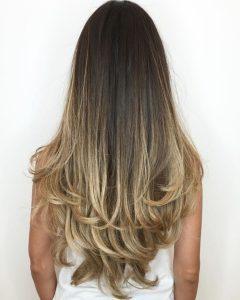 Long Dark Hairstyles with Blonde Contour Balayage