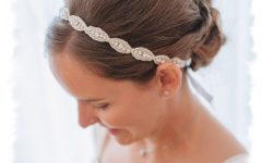 High Updos with Jeweled Headband for Brides