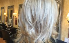 Feathered Cut Blonde Hairstyles with Middle Part