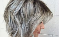 Silver Balayage Bob Haircuts with Swoopy Layers
