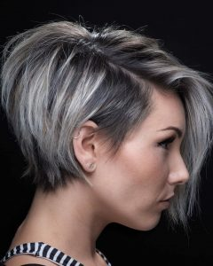Stacked Blonde Balayage Pixie Hairstyles For Brunettes
