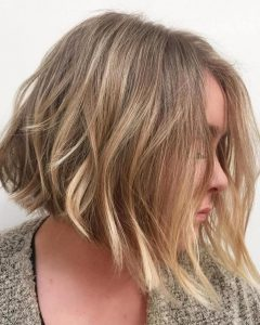 Subtle Dirty Blonde Angled Bob Hairstyles