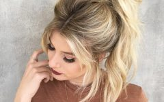 High Messy Pony Hairstyles with Long Bangs