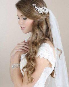 Long Hairstyles Veils Wedding