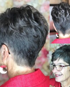 Tapered Gray Pixie Hairstyles with Textured Crown