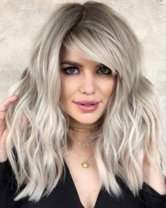 One Side Bangs Hairstyles with Feather Effect