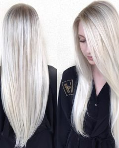Platinum Layered Side Part Hairstyles