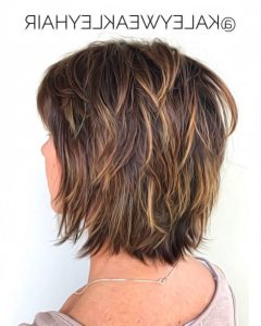 Choppy Shag Hairstyles with Short Feathered Bangs