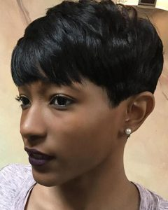 Choppy Asymmetrical Black Pixie Hairstyles