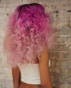 Hot Pink Highlights on Gray Curls Hairstyles