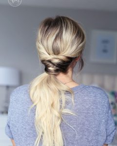 Twisted And Pinned Blonde Ponytails