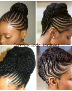 African Cornrows Updo Hairstyles