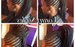 Braided Mohawk Pony Hairstyles with Tight Cornrows