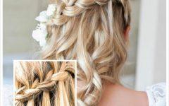Diagonal Waterfall Braid in Half Up Bridal Hairstyles
