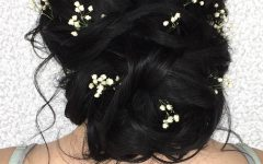 French Twist Wedding Updos with Babys Breath