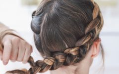 Highlighted Braided Crown Bridal Hairstyles