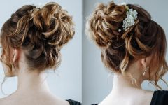 Large Bun Wedding Hairstyles with Messy Curls