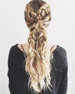 Blonde Braided And Twisted Ponytails