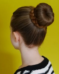 Donut Bun Hairstyles With Braid Around