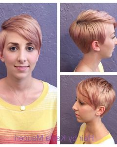 Edgy Textured Pixie Haircuts With Rose Gold Color