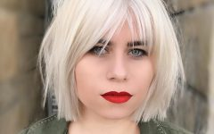 Platinum Blonde Pixie Hairstyles with Long Bangs