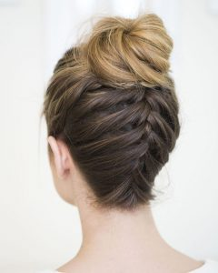 Upside Down Braid And Bun Prom Hairstyles