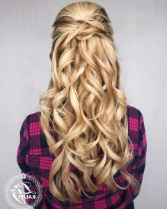 Gorgeous Waved Prom Updos for Long Hair