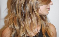 Shiny Caramel Layers Long Shag Haircuts