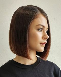 Shiny Strands Blunt Bob Hairstyles