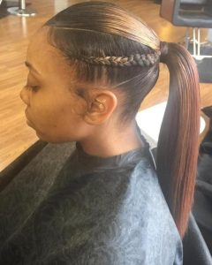Sky-High Pompadour Braid Pony Hairstyles